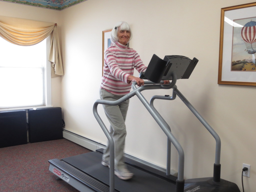 A treadmill and recumbent bike can be found in our exercise room