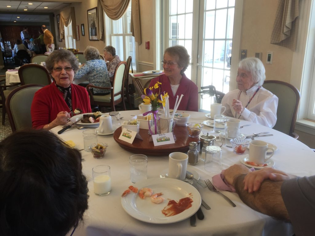 Residents dining with family